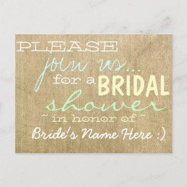 Vintage Burlap Country Bridal Shower Invitations