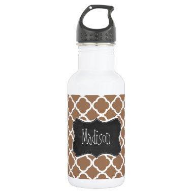 Vintage Chalkboard Chamoisee Quatrefoil Water Bottle