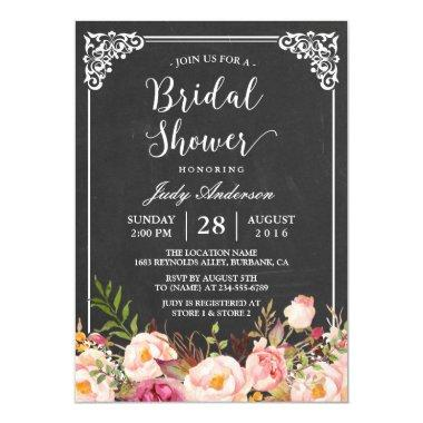 Vintage Chalkboard Frame Floral Bridal Shower Invitations