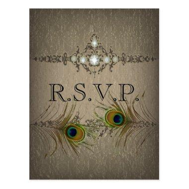Vintage chic peacock wedding RSVP invitation Post