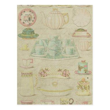 Vintage China Teacups Teapot Shabby Kitchen Decor PostInvitations