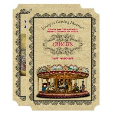 Vintage Circus Bridal Shower Carnival Carousel Invitations