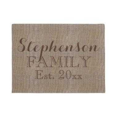 Vintage Country Rustic Burlap Name Doormat