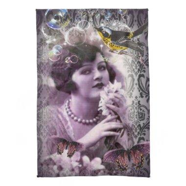 Vintage damask 1920s Paris Lady Flapper Girl Hand Towel