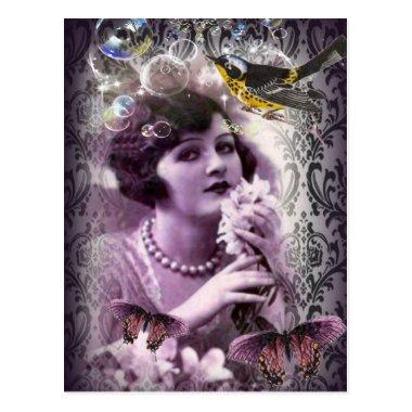 Vintage damask art deco gatsby Flapper Girl PostInvitations