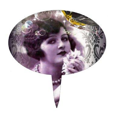 vintage damask gatsby girl trendy parisian cake topper