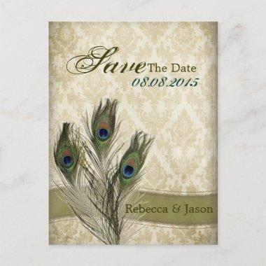 vintage damask peacock wedding save the date announcement postInvitations