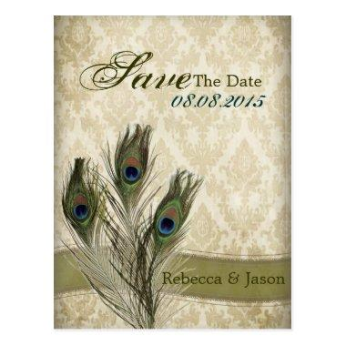 vintage damask peacock wedding save the date post