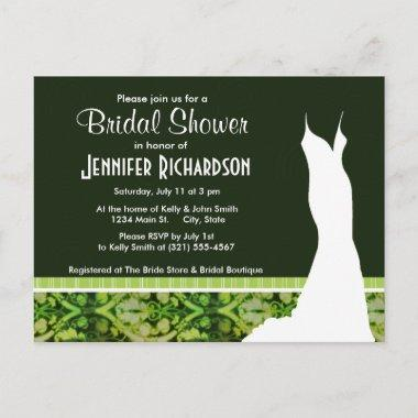 Vintage Dark Green Pattern Invitation Post