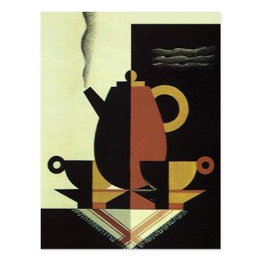 Vintage Drinks Beverages Coffee Pot with Cups PostInvitations