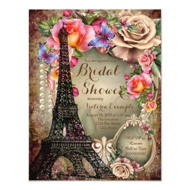 Vintage Eiffel Tower Paris Bridal Shower Invitations