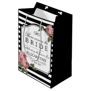 Vintage Floral  Customize The Color Medium Gift Bag