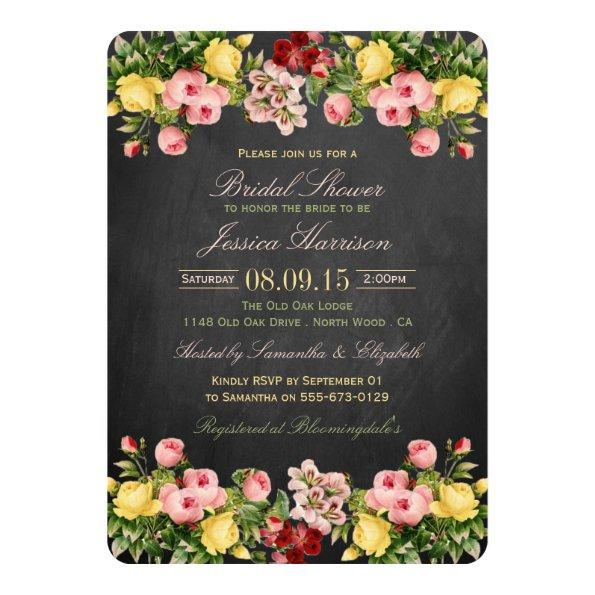 Vintage Floral Chalkboard Bridal Shower Invitations