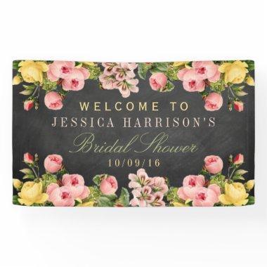 Vintage Floral Chalkboard  Banner