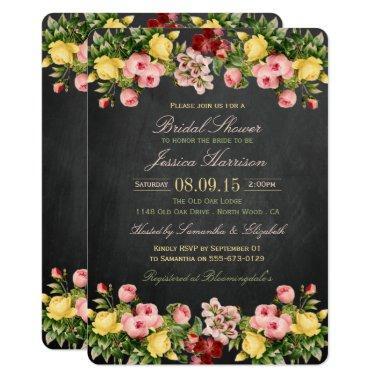Vintage Floral Chalkboard Bridal Shower Invitations