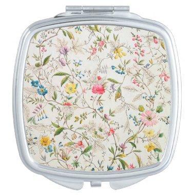 Vintage Floral Design Compact Mirror