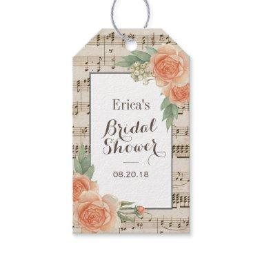 Vintage Floral Elegant Musical Bridal Shower Favor Gift Tags