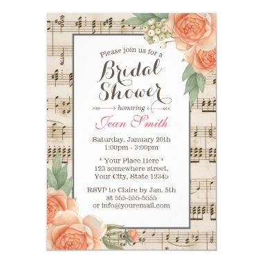 Vintage Floral Elegant Musical Bridal Shower Invitations
