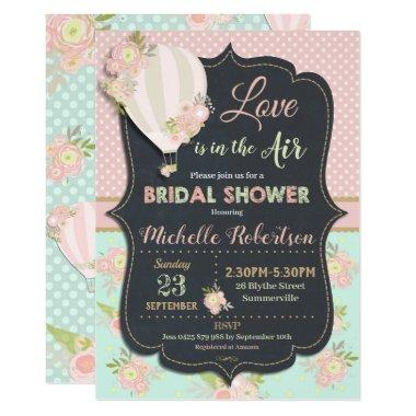 Vintage Floral Hot Air Balloon Bridal Shower Invitations