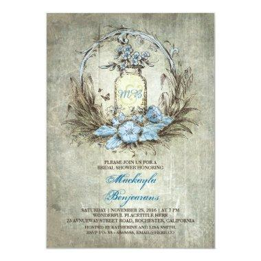 Vintage floral mason jar rustic bridal shower Invitations