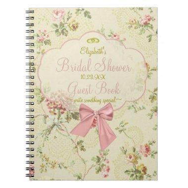 Vintage Floral Peach  Guestbook - Notebook