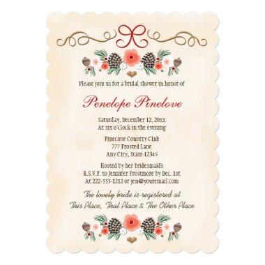 Vintage Floral Pinecone Christmas Bridal Shower Invitations