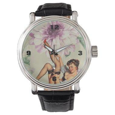 vintage floral retro pin up girl wristwatch