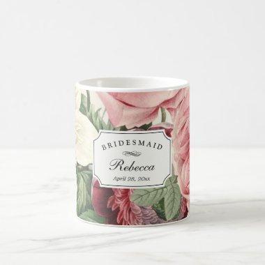 Vintage Floral Wedding Bridesmaid  Coffee Mug