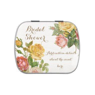 Vintage Floral Whitewash Spring  Candy Tin