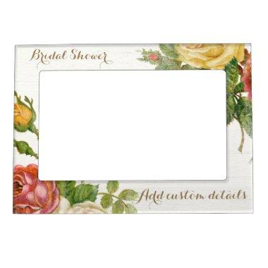 Vintage Floral Whitewash Spring Bridal Shower Magnetic Frame