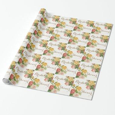 vintage floral whitewash spring bridal shower wrapping paper