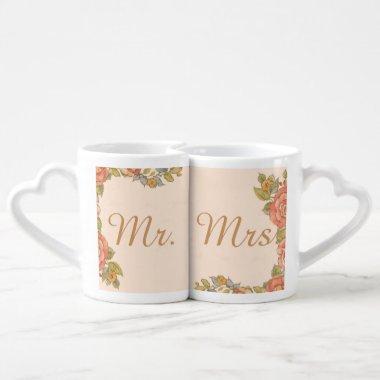 vintage flowers spring wedding mr and mrs coffee mug set
