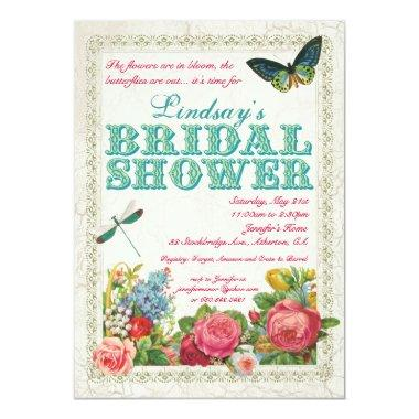 Vintage Garden Bridal Shower Invitations