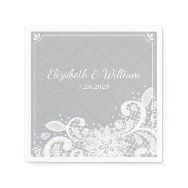 VIntage Glam White Lace Rustic Wedding Custom Paper Napkin