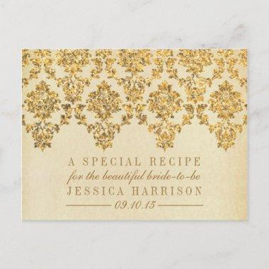 Vintage Gold Damask Bridal Shower Recipe Invitations