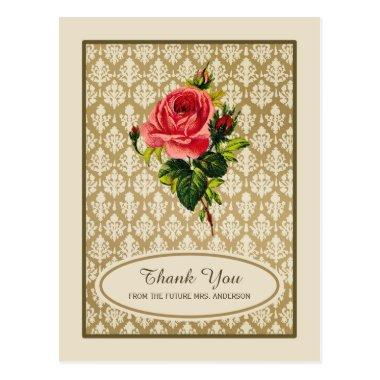 Vintage Gold Damask Rose  Thank You Post