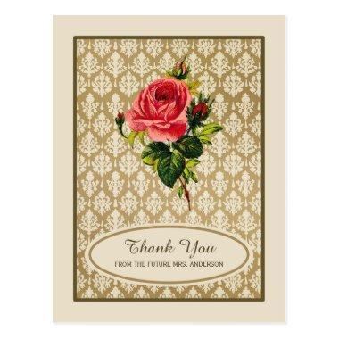 Vintage Gold Damask Rose Bridal Shower Thank You PostInvitations