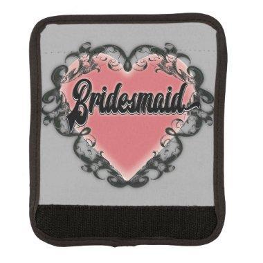 Vintage heart tattoo bridesmaid luggage handle wrap