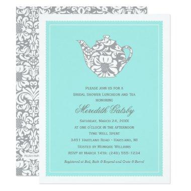 Vintage High Tea Party | Aqua Blue Bridal Shower Invitations