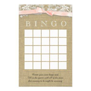 Vintage Lace and Blush Bow Shower Bingo Stationery