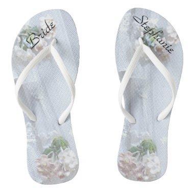 Vintage Lace Bride Wedding Personalized Flip Flops