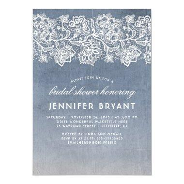 Vintage Lace Dusty Blue Bridal Shower Invitations