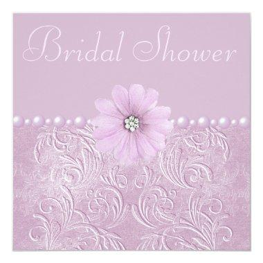 Vintage Lilac Bridal Shower Bling Flowers & Pearls Invitations