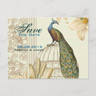 Vintage lily floral peacock wedding save the date announcement postInvitations