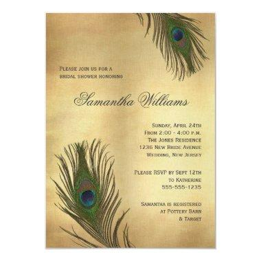 Vintage Look Peacock Feathers Bridal Shower Invitations
