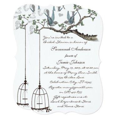 Vintage Love birds Birdcage  Invite