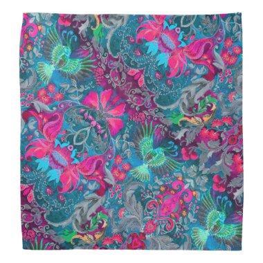 Vintage luxury floral garden blue bird lux pattern bandana