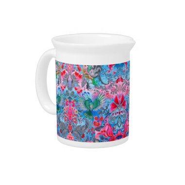 Vintage luxury floral garden blue bird lux pattern beverage pitchers
