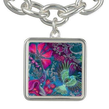 Vintage luxury floral garden blue bird lux pattern bracelet