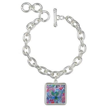 Vintage luxury floral garden blue bird lux pattern charm bracelet